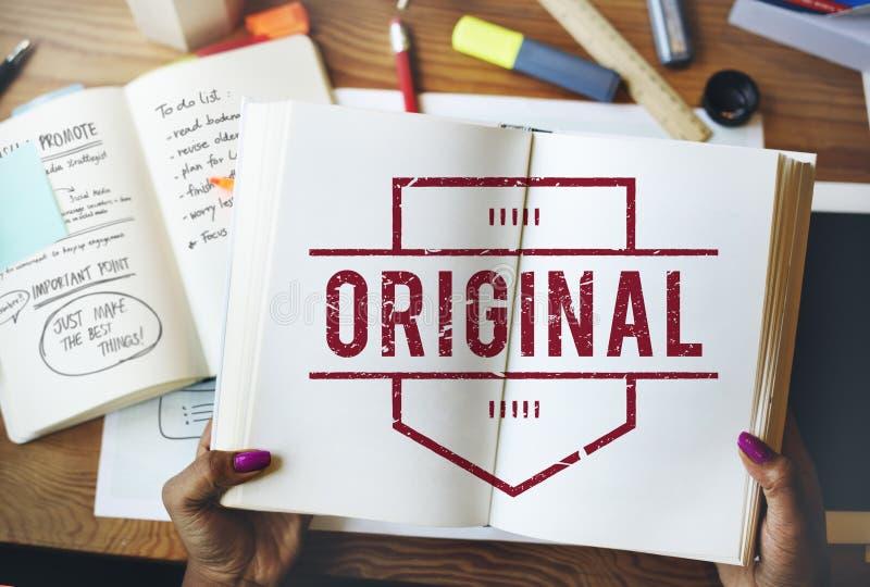 Concepto original del gráfico de la marca registrada del producto de la patente de la marca fotografía de archivo