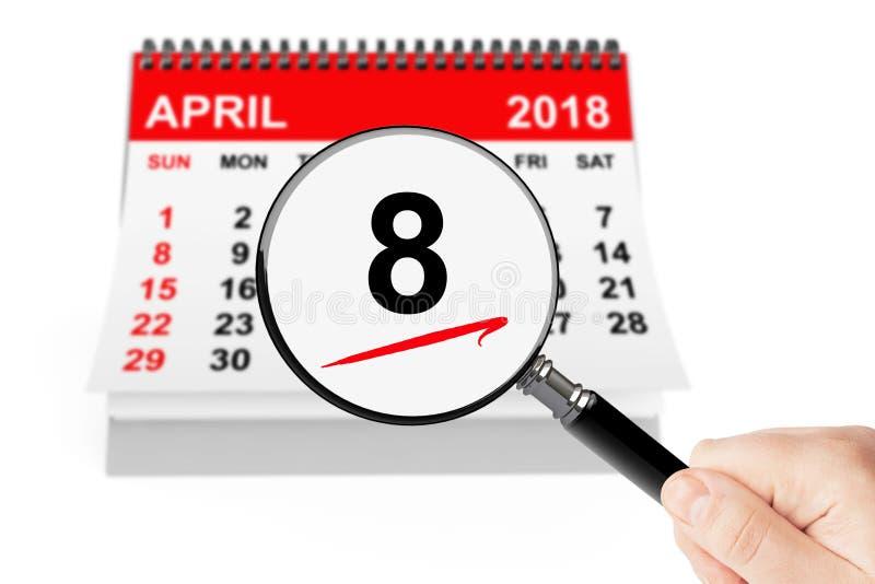 Concepto ortodoxo de Pascua 8 de abril de 2018 calendario con la lupa imagenes de archivo