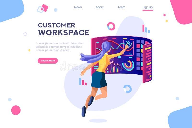 Concepto oscuro del uso del espacio de trabajo del cliente stock de ilustración
