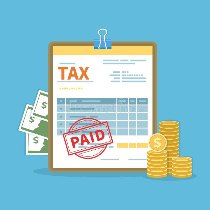 Concepto pagado del impuesto Gobierno, impuestos estatales Cálculo financiero, deuda Icono del día de paga libre illustration