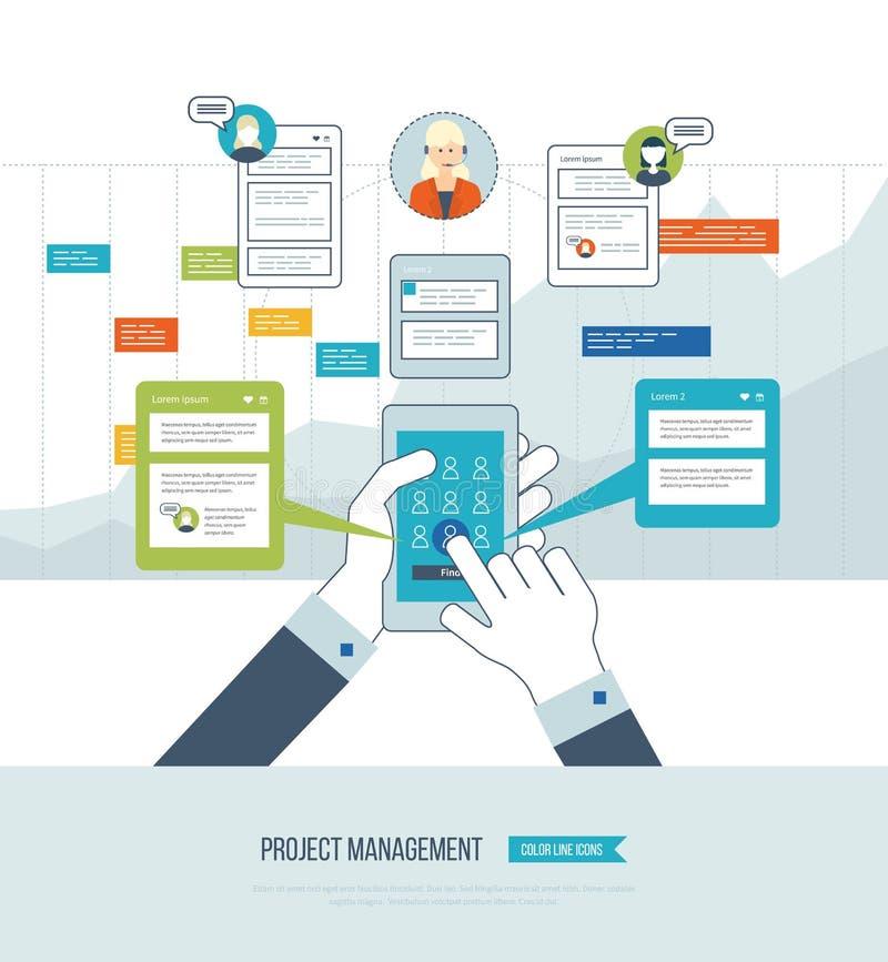 Concepto para el análisis de negocio, consultando, planeamiento de la estrategia, gestión del proyecto ilustración del vector