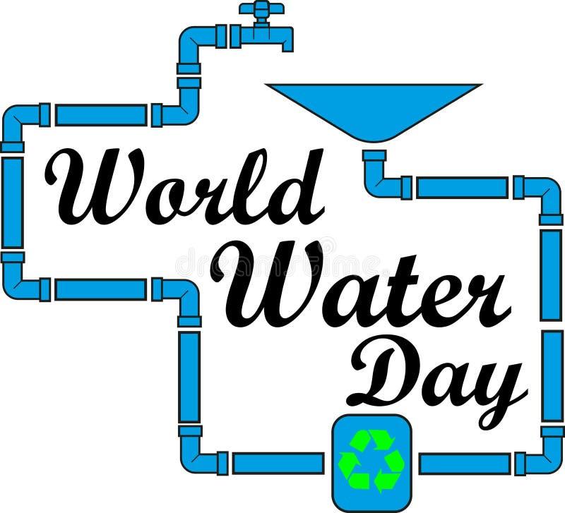 Concepto para el día del agua del mundo, la inscripción dentro del wate libre illustration