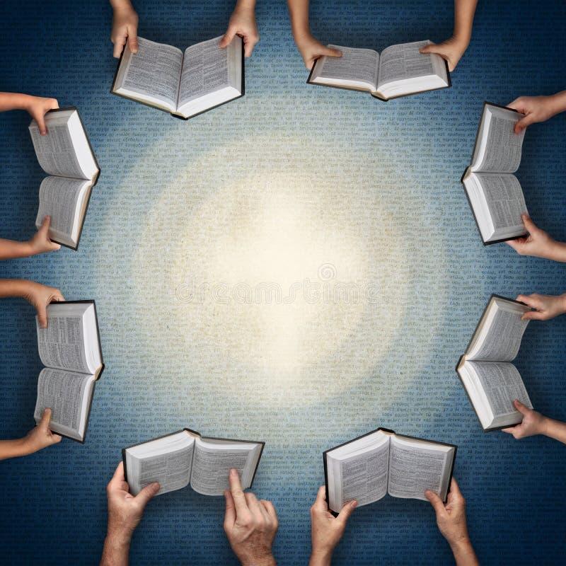 Concepto para el estudio de la biblia en la familia o en clase ilustración del vector