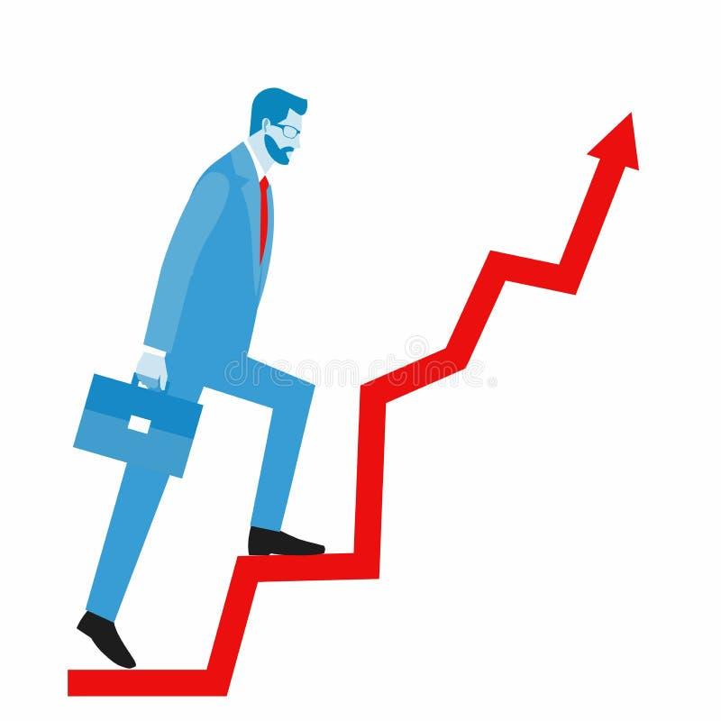 Concepto para el negocio acertado, crecimiento profesional, logros de la carrera stock de ilustración