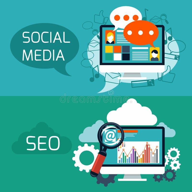 Concepto para el seo y el medios uso social ilustración del vector