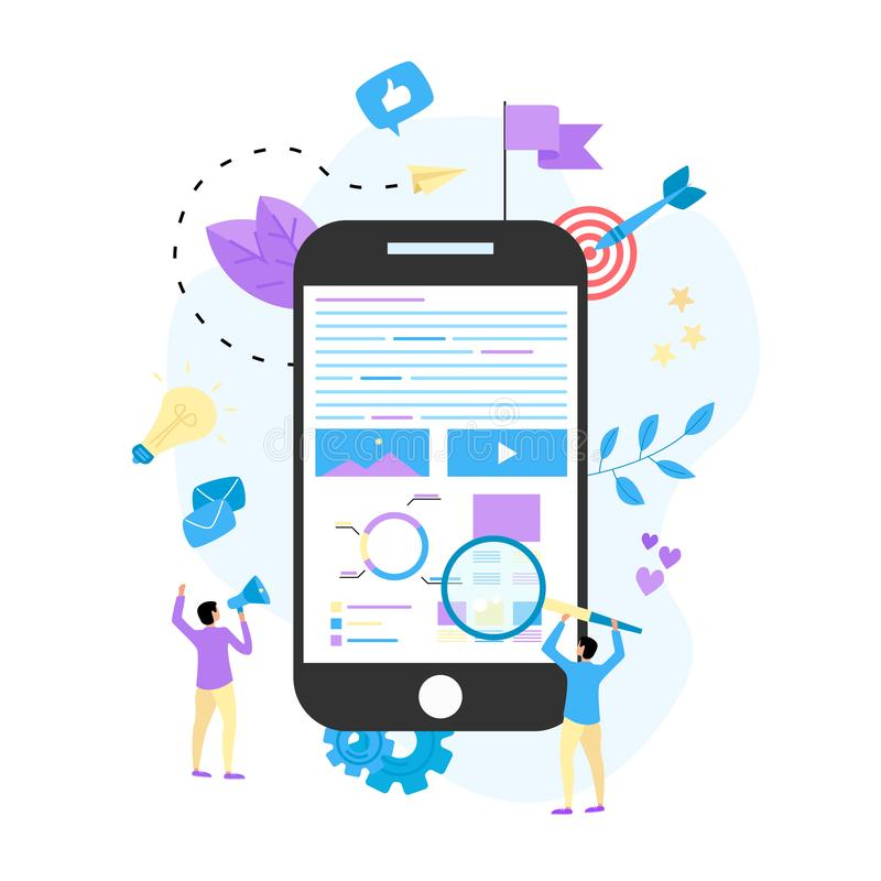 Concepto para la agencia de comercialización de Digitaces, ejemplo plano del vector de la campaña digital de los medios libre illustration
