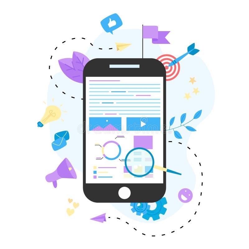 Concepto para la agencia de comercialización de Digitaces, ejemplo plano del vector de la campaña digital de los medios stock de ilustración