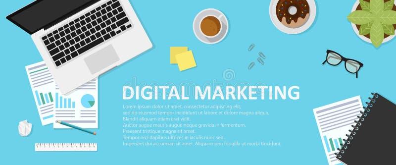Concepto para la bandera del web Ejemplo plano del diseño para el márketing digital stock de ilustración