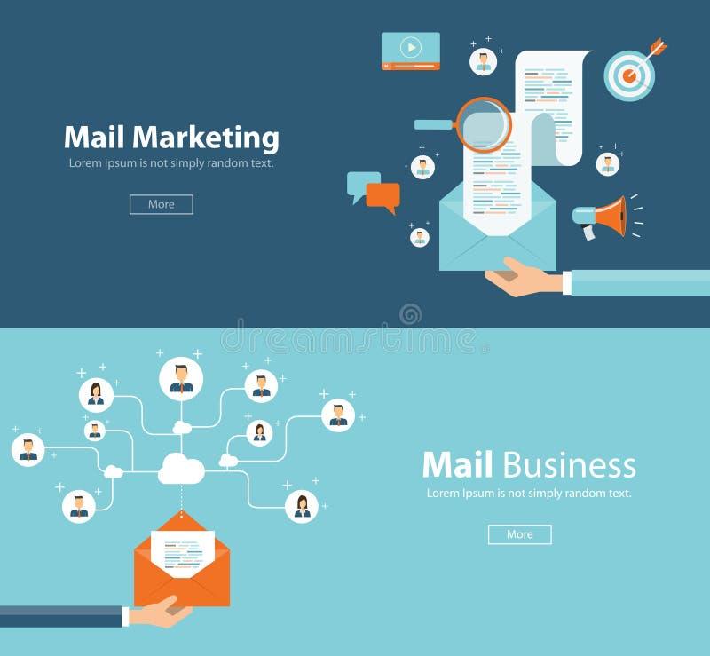 Concepto para la conexión del márketing del correo electrónico y el contenido digital del márketing stock de ilustración