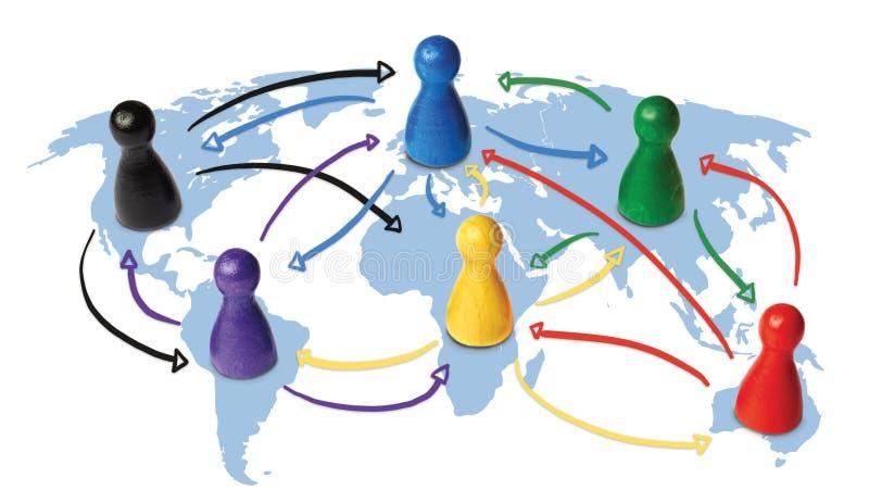 Concepto para la globalización, establecimiento de una red global, viaje o conexión o transporte global Figuras coloridas con stock de ilustración