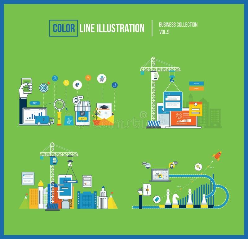 Concepto para la inversión elegante, márketing móvil, planificación financiera, desarrollo de aplicaciones libre illustration