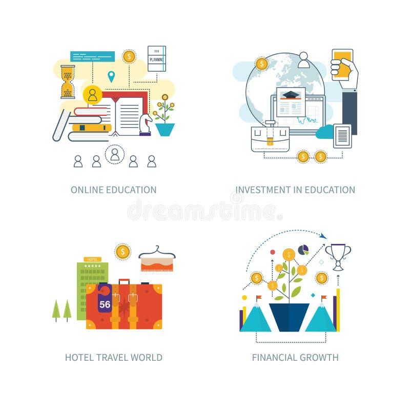 Concepto para la inversión, planeamiento de la estrategia, finanzas, educación en línea libre illustration