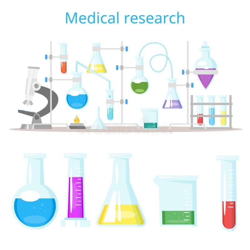 Concepto para la investigación química del laboratorio libre illustration