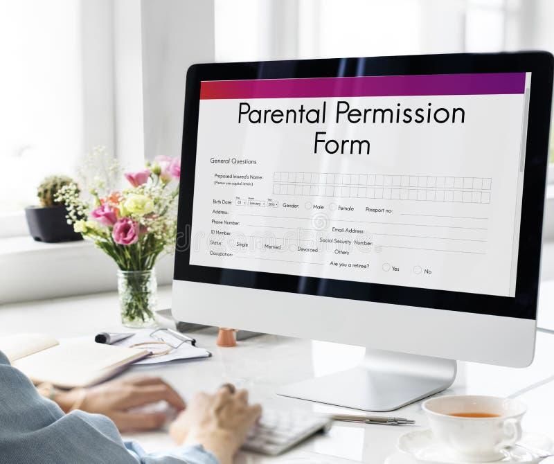 Concepto parental del endoso del consentimiento de la forma del permiso fotografía de archivo libre de regalías