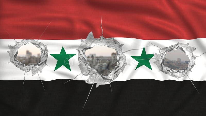 Concepto perforado de la guerra de la bandera de Siria ilustración del vector