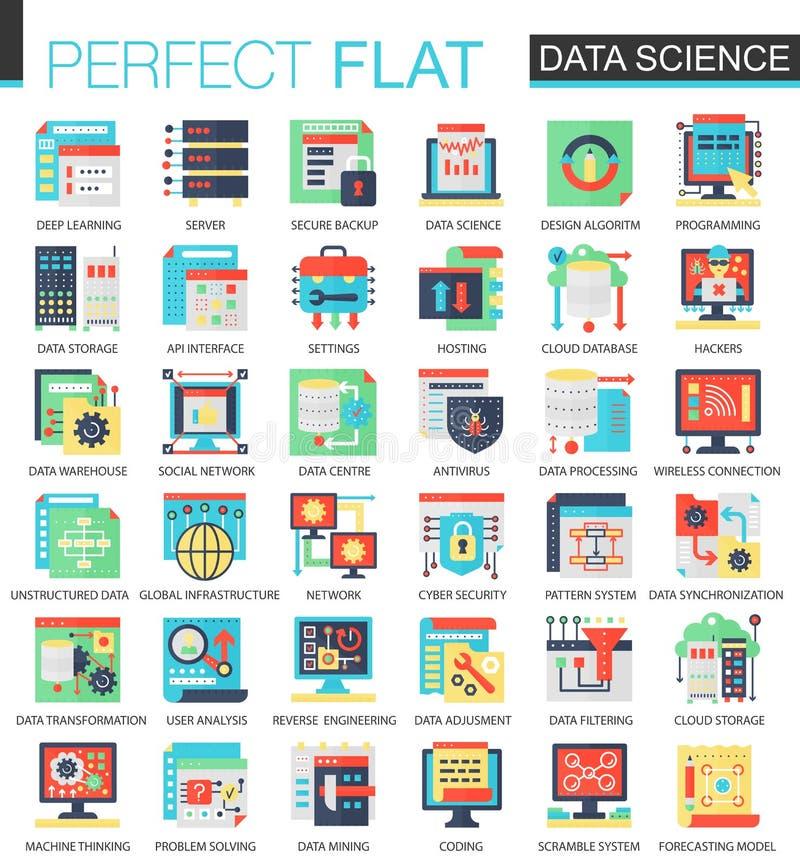 Concepto plano complejo del icono de la ciencia de los datos del vector Diseño infographic de los iconos del web stock de ilustración