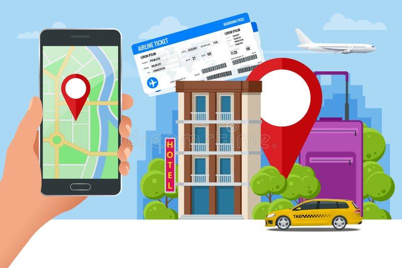 Concepto plano de búsqueda y de reservación del hotel en línea Mano que sostiene un smartphone Aplicación móvil para alquilar stock de ilustración