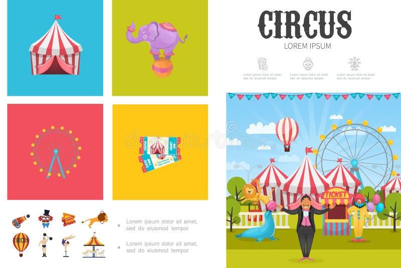 Concepto plano de Infographic del circo ilustración del vector