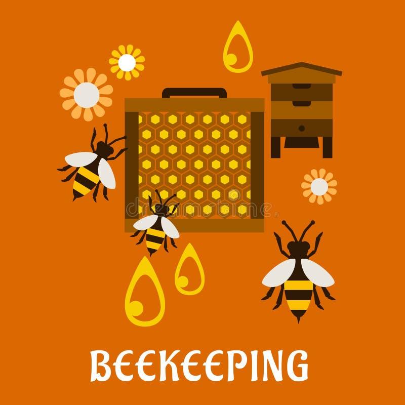 Concepto plano de la apicultura con la colmena y las abejas stock de ilustración