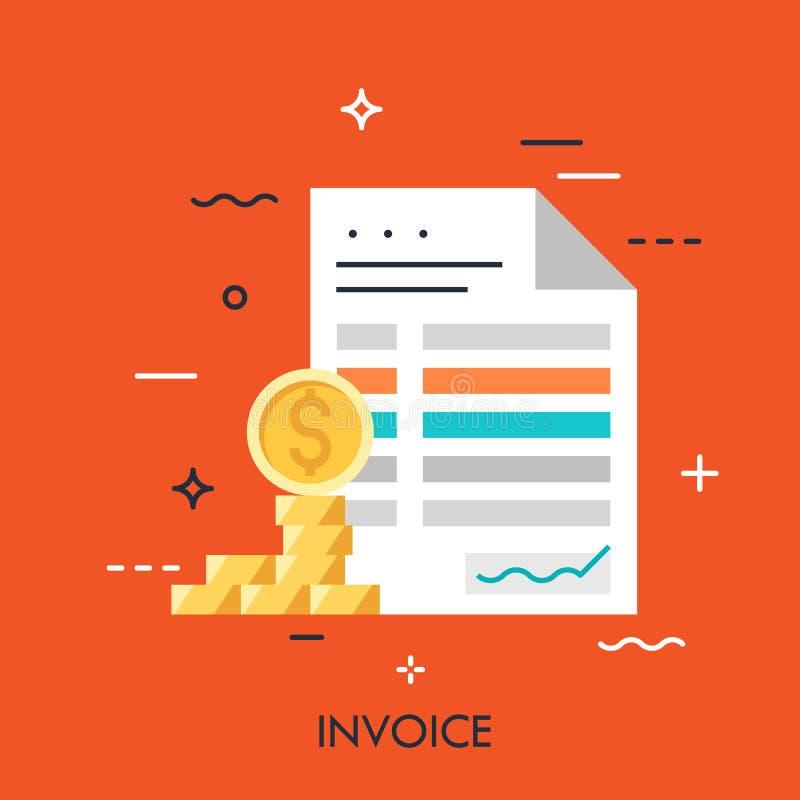 Concepto plano de la factura stock de ilustración
