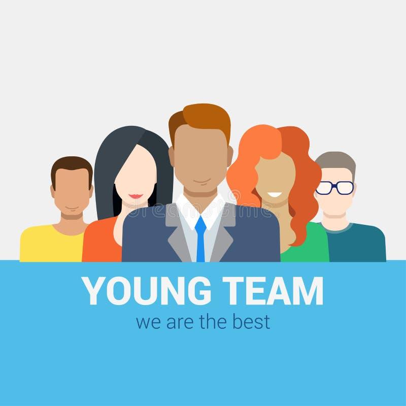 Concepto plano de la hora de las relaciones humanas del vector: personal del equipo de los jóvenes stock de ilustración
