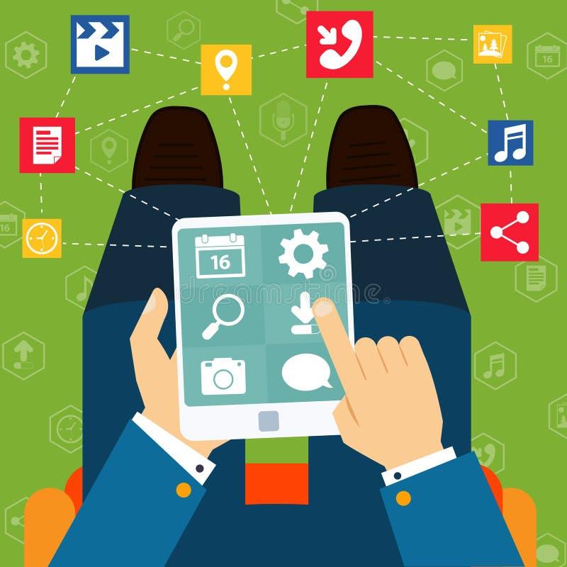 Concepto plano de las aplicaciones móviles libre illustration