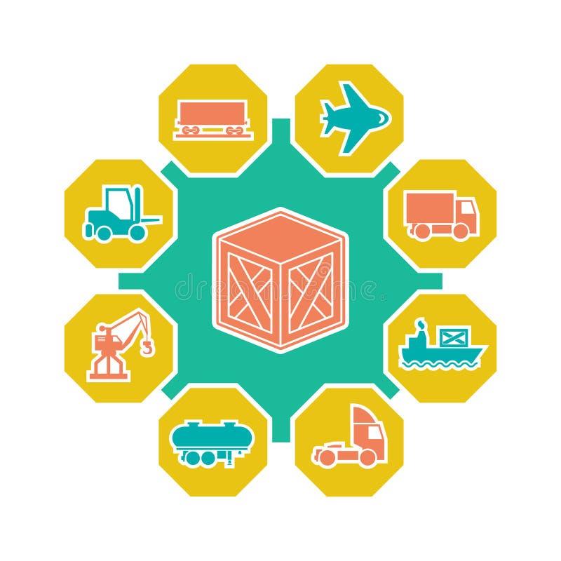 Concepto plano de logística y de transporte stock de ilustración