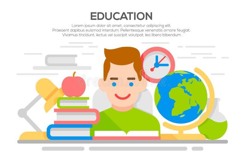 Concepto plano del aprendizaje y de la educación libre illustration