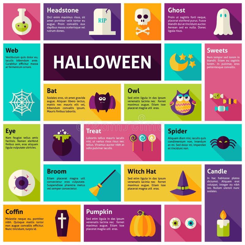 Concepto plano del día de fiesta de Infographic Halloween de los iconos del vector del diseño stock de ilustración