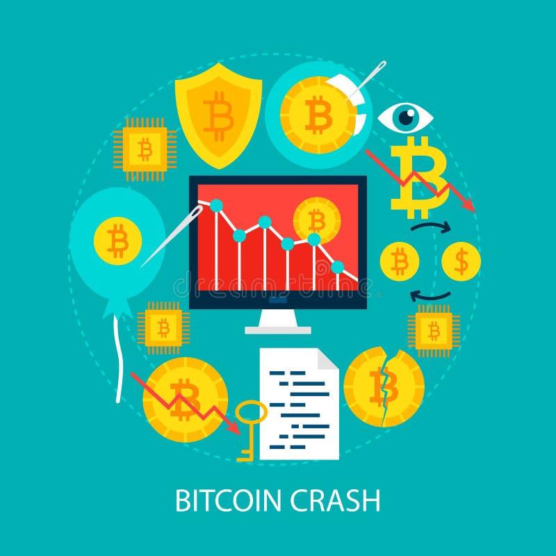 Concepto plano del desplome de Bitcoin stock de ilustración