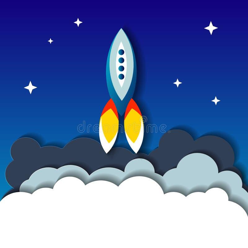 Concepto plano del ejemplo de inicio de la nave del cohete de espacio en el fondo oscuro de montañas y del cielo estrellado libre illustration