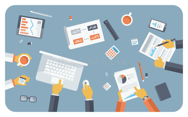 Concepto plano del ejemplo de la reunión de negocios stock de ilustración