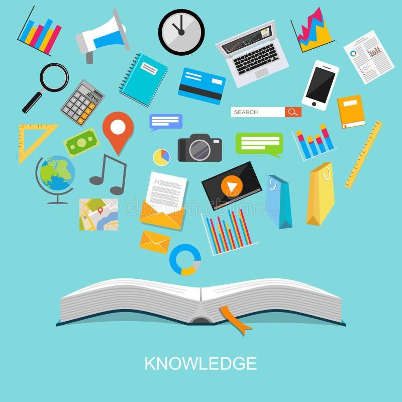 Concepto plano del ejemplo del diseño del conocimiento libre illustration