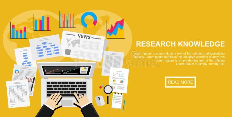 Concepto plano del ejemplo del diseño para el estudio de mercado, plan empresarial, inversión, comercializando información, gesti ilustración del vector
