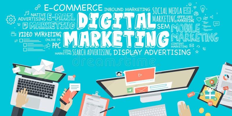 Concepto plano del ejemplo del diseño para el márketing digital stock de ilustración