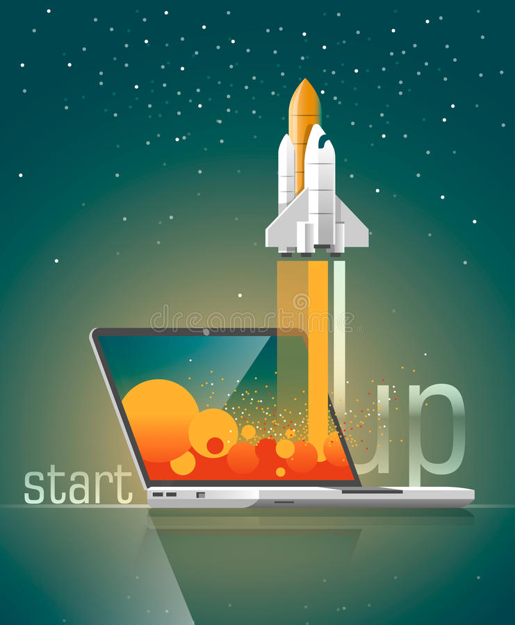 Concepto plano del ejemplo del vector del diseño de nuevo proyecto del negocio Empiece para arriba Lance un nuevo producto ilustración del vector