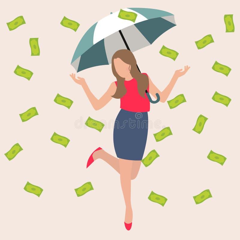 Concepto plano del ejemplo del vector del negocio afortunado rico del éxito del efectivo del dólar de la lluvia del dinero del pa stock de ilustración