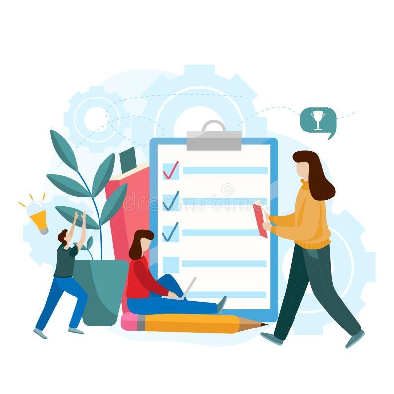 Concepto plano del vector de examen en línea, forma del cuestionario, educación en línea, encuesta, concurso de Internet libre illustration