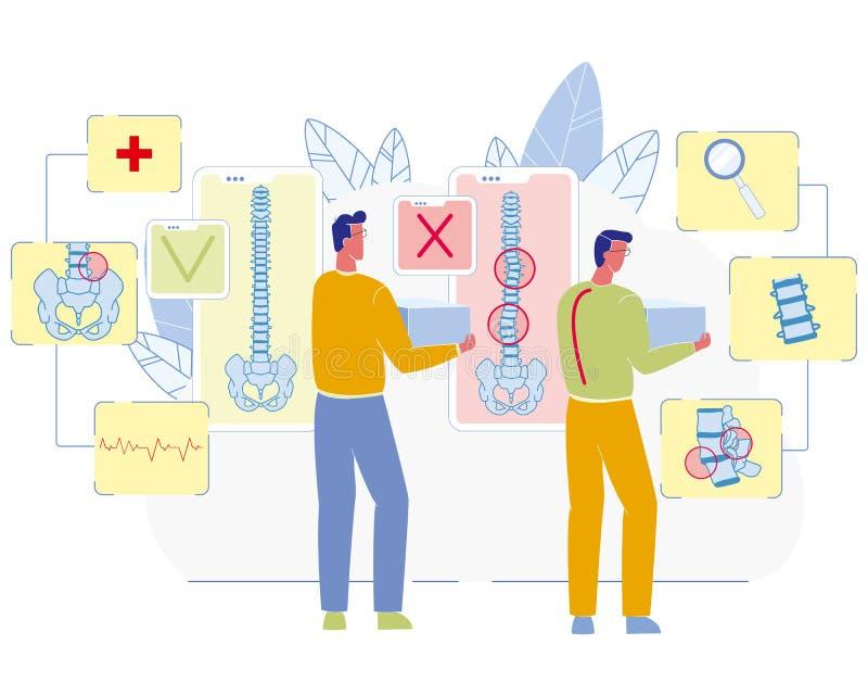 Concepto plano del vector de la enfermedad relacionada de la espina dorsal del trabajo stock de ilustración