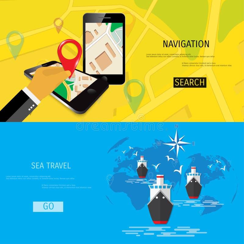 Concepto plano del vector de World Travel y de turismo stock de ilustración