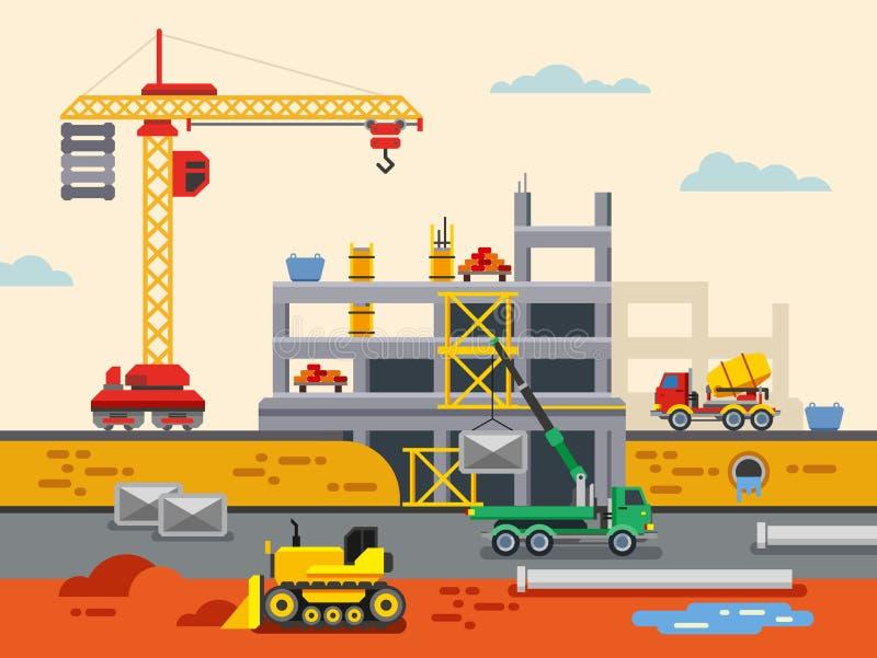Concepto plano del vector del diseño de la construcción de edificios stock de ilustración