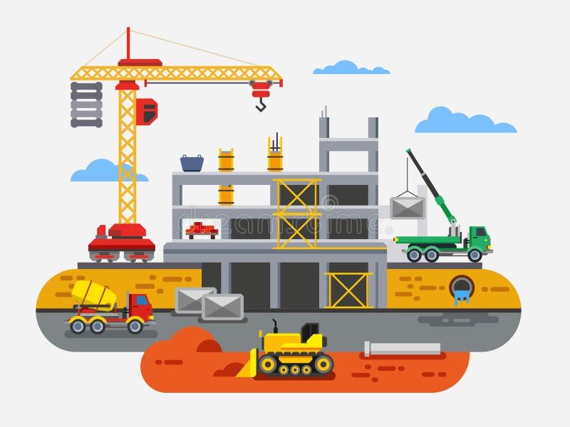 Concepto plano del vector del diseño de la construcción de edificios ilustración del vector