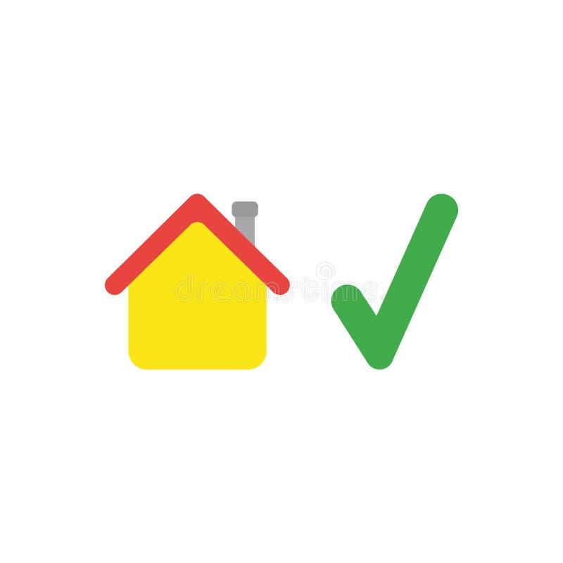 Concepto plano del vector del diseño de casa con la marca de verificación ilustración del vector