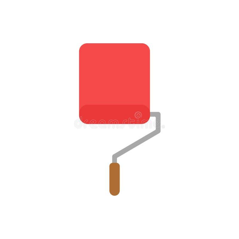 Concepto plano del vector del estilo del diseño de dolor del icono de la brocha del rodillo stock de ilustración
