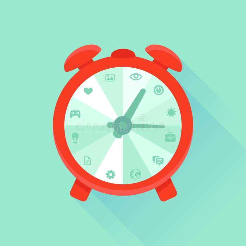 Concepto plano del vector - gestión de tiempo ilustración del vector