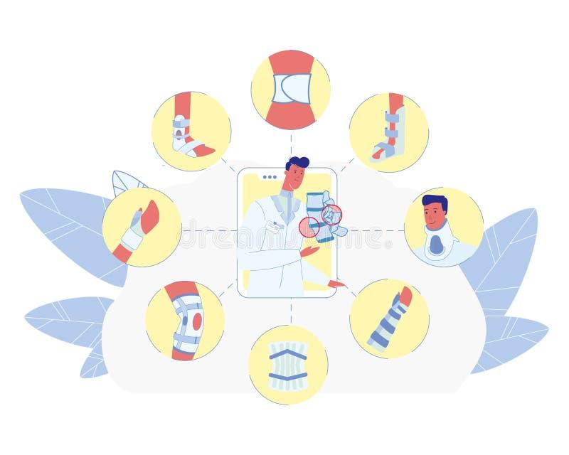 Concepto plano del vector del miembro del tratamiento quebrado del hueso libre illustration