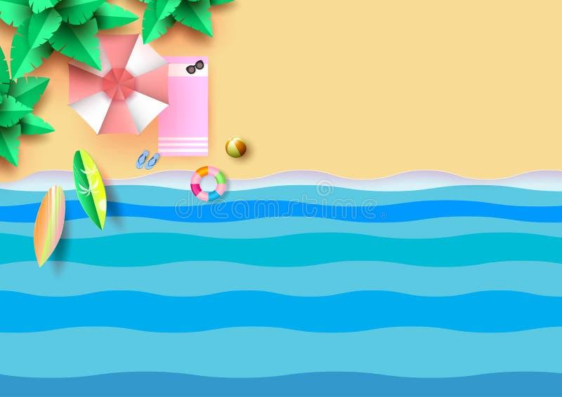 Concepto plano del verano de la endecha de paraguas y de accesorios coloridos encendido libre illustration