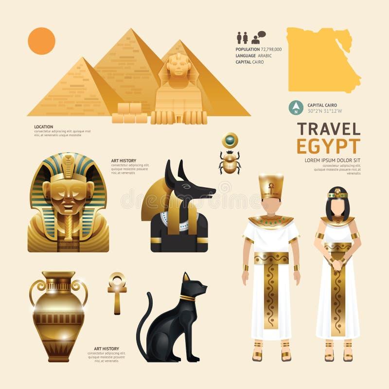 Concepto plano del viaje del diseño de los iconos de Egipto Vector libre illustration