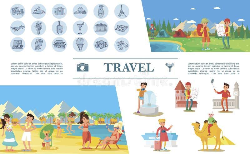Concepto plano del viaje del verano stock de ilustración