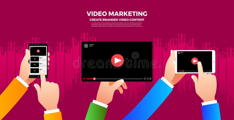 Concepto plano del vlog del diseño Cree el contenido video y haga el dinero V stock de ilustración